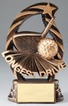 Golf Longest Drive Resin Trophy Bronze and Gold Star Resin Trophy Awards