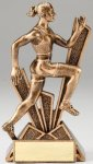 Checkmate Series Sculpted Antique Gold Resin Trophy -Track Female  Track Trophy Awards
