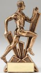 Checkmate Series Sculpted Antique Gold Resin Trophy -Track Male  Track Trophy Awards