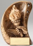 Curve Action Series Sculpted Antique Gold Resin Trophy -Victory Victory Trophy Awards