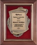 Genuine Walnut Frame with Metal Casting on Red Velour Wreath Awards
